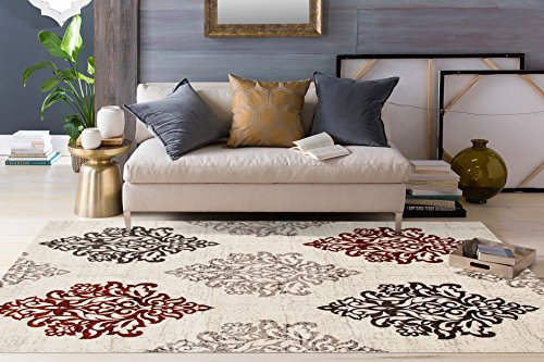 Red Transitional Area Rug - Transitional Damask Soft Red 3'3