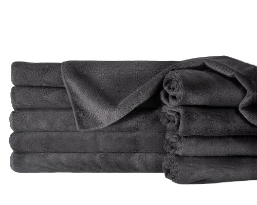 Towels by Doctor Joe ULTRA-15BLK-10DZ Safe-2-Bleach Deep Black 16'' x 27'' Microfiber Salon Towel, (Pack of 120) by Towels by Doctor Joe