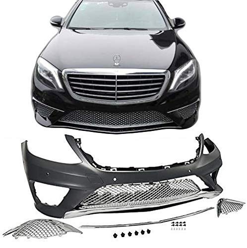 EAX Compatible with Mercedes S Class 14 15 16 17 W222 S63 Replacement for AMG Style Bumper Cover with Front End Fascia Kit Chrome Trim 2014 2015 2016 2017 Brand by EAX (Image #2)