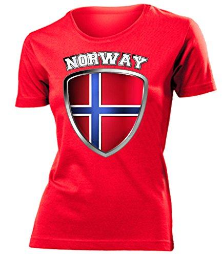 coppa del Mondo - Campionati Europei NORWAY FAN mujer camiseta Tamaño S to XXL varios colores Rojo