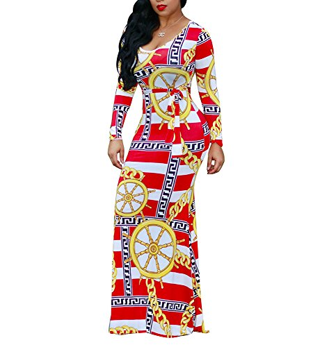 Sleeves Outfits Women's Party Dress Length Printed Long Maxi Loose LightlyKiss Belt Floor Casual Whitered8746 Sexy Floral vIdIOq