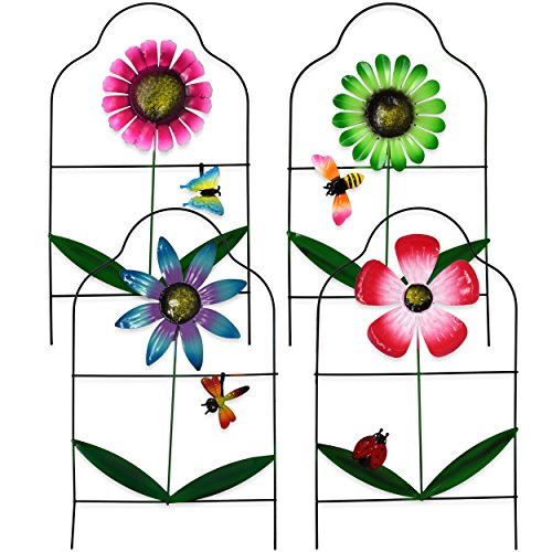 Gift Boutique Decorative Painted Metal Garden Fence 4 Pack Flower Design Border Edge Gate for Yard Patio Lawn Landscape and Outdoor Decor -