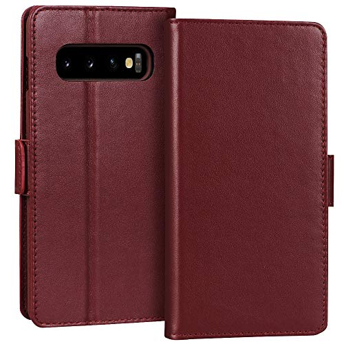 FYY Samsung Galaxy S10 6.1 Luxury [Cowhide Genuine Leather][RFID Blocking] Handcrafted Wallet Case, Handmade Flip Folio Case with [Kickstand Function] and [Card Slots] for Galaxy S10 (6.1) Wine Red
