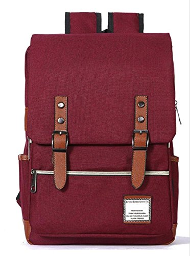 MYLL Bolso De Hombro De La Universidad De La Mochila De Las Mujeres Bolso De Estudiante Durable Simple,RosePink-Large Winered-big
