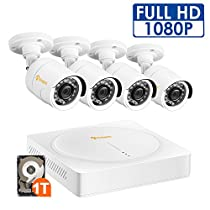 Anlapus 8CH Full HD 1080P HD-TVI Security Camera System, Surveillance DVR with 1TB Hard Drive and (4) 2.0MP 1920TVL Waterproof Outdoor Indoor CCTV Bullet Camera with Motion Detection and Night Vision
