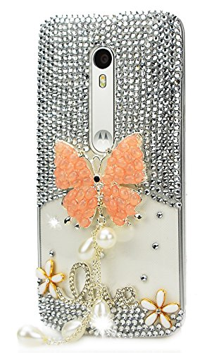 STENES Motorola Moto G4 / Moto G4 Plus Case - [Luxurious Series] 3D Handmade Shiny Crystal Bling Case with Retro Bowknot Anti Dust Plug - Pretty Butterfly Pearl Pendant Flowers Love/Orange