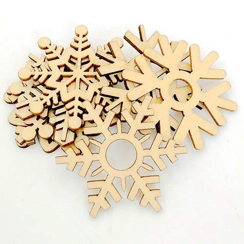 Decorative Decorative - 10 Pcs Assorted Wooden Snowflake Xmas Wedding Tree Hanging Ornament Decoration - Blank Ornament Tree Halloween Bird Craft Christmas DIY Christmas Brain Deer Wood W ()