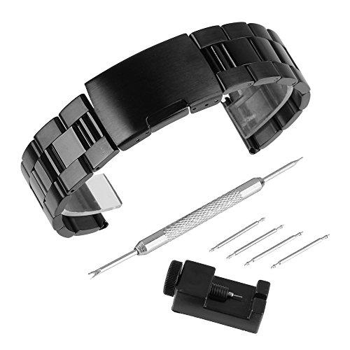 (Bewish Black Brushed Polished Finish Stainless Steel Watchband Fold Over Clasp Three Beads Solid Kit (28mm) )