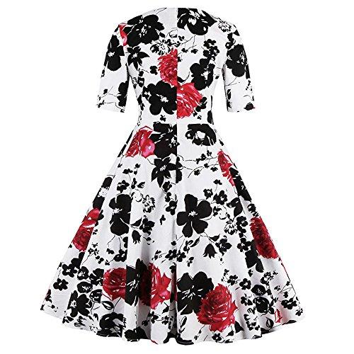 ZAFUL Mujer Vintage Vestido Años 50 Impresión Floral Manga Corta Vestidos de Coctel Fiesta Noche A-Line Retro Rockabilly Verano Dress Talla Grande Rosso