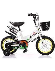 دراجة أطفال مع عجلات للتدريب، زجاجة مياه وسلة أمامية 35.56 سم، أبيض، مقاس صغير من MAIBQ