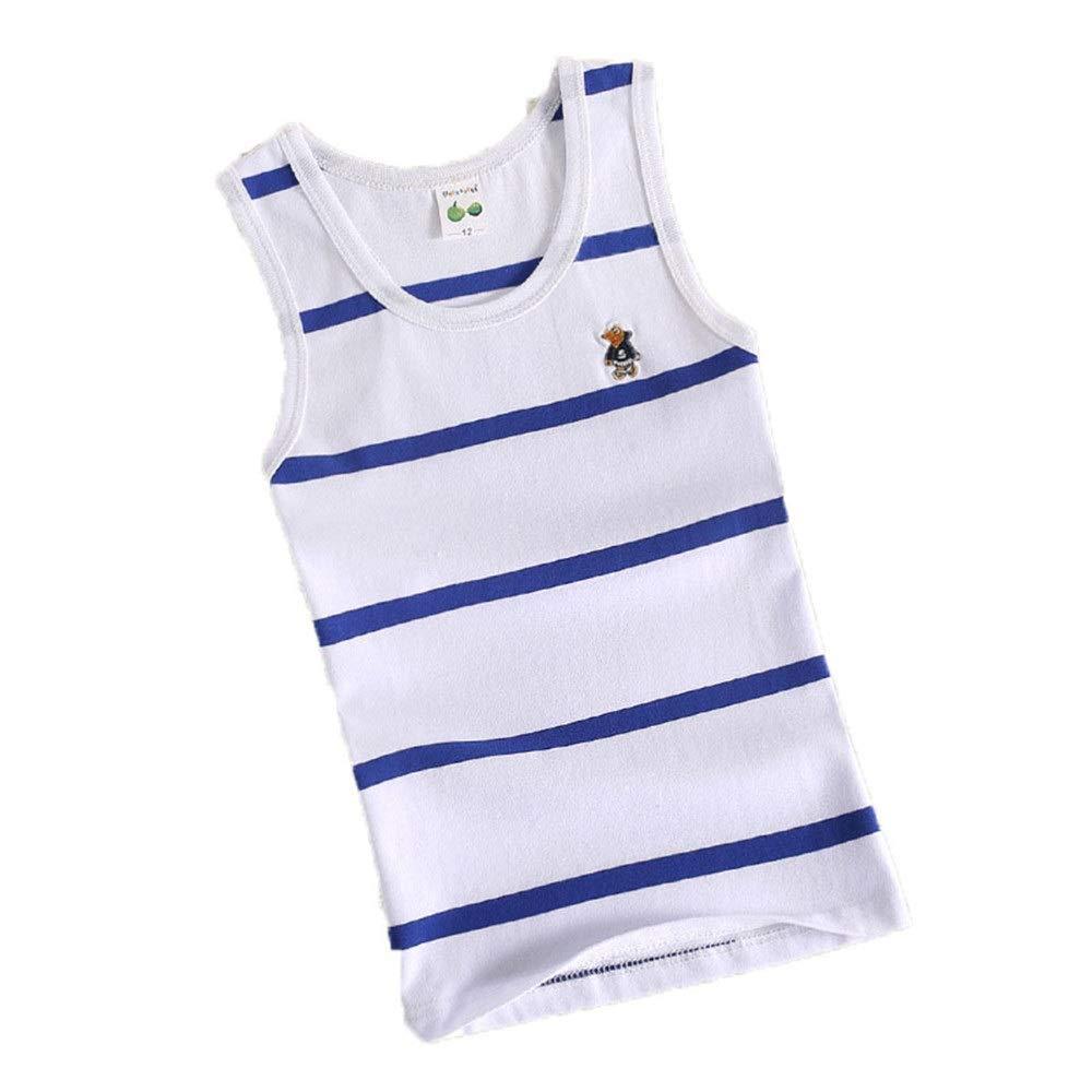 Kids Cotton Tank Top Undershirts Children's Summer Striped Crew Neck Short Sleeve Vest Bottoming Sleeveless T-Shirts Soft Comfort Boy's Undershirts Tank Top Black White For Boys or Girls