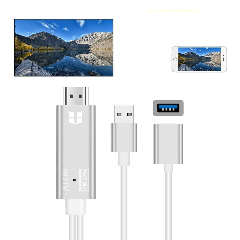 MHL HDMI Adapter for iPad iPhone 11 Pro Max Xs Xr X 8 7 Plus 6S 6 SE 5 Samsung Galaxy S9 Android Phone OTG Micro USB Type C HDTV Cable to TV Monitor Projector 1080P HD Video Converter Digital AV Cord