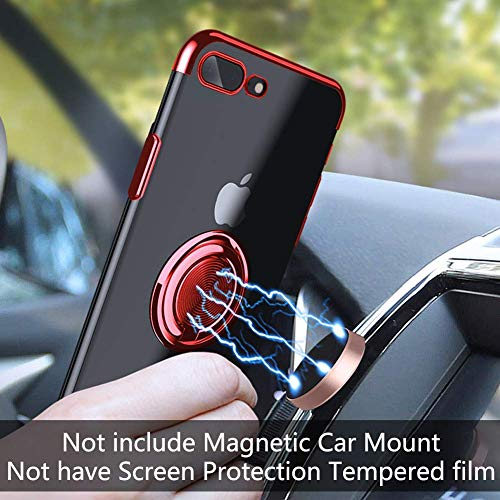 16Jessie Case Compatible with iPhone 8 Plus,Clear Slim TPU Bumper Magnetic Car Mount Case with 360° Ring Kickstand for Apple iPhone 7 Plus (red, iPhone 6 Plus)