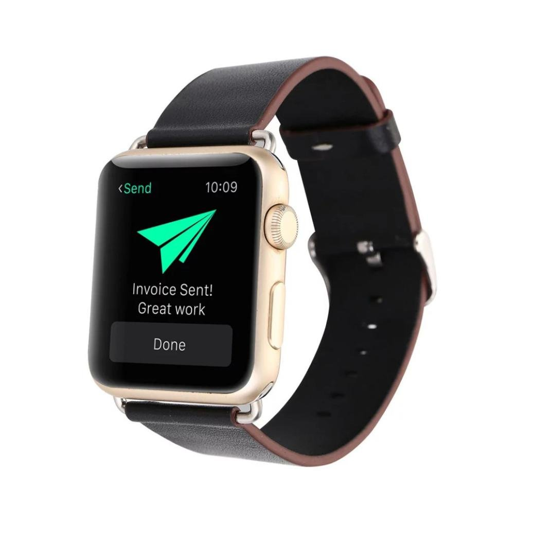 Apple Watch 42mm用 Mchoiceレザーバックル腕時計ベルト ストラップ 馬ベルト Apple Watch 42mm用  ブラック B074L3QLG2