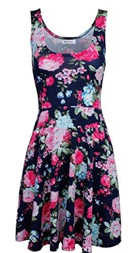 Women's 1 Sundress Swing Fashion L Sleeveless Floral Print Jaycargogo dq0zpPnd