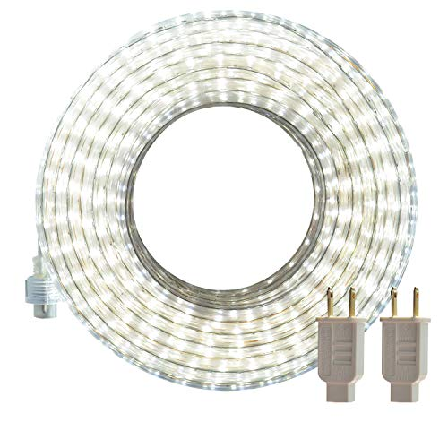 LED Rope Lights, 50ft Flat Flexible Strip Light, 6000K Daylight White, Waterproof for Indoor/Outdoor use, Connectable, 900 Units SMD 2835 LEDS,UL Listed Power Supply, Ideal for Backyards