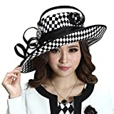 June's Young Ladies Satin Dress Hat Church Hat Formal Hat for Women Black Hat (Black White Color)
