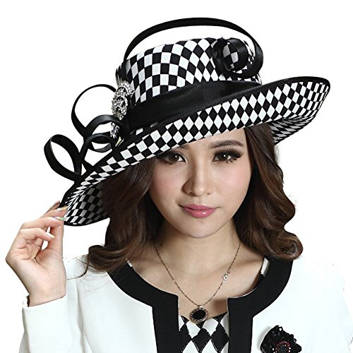 Young Lady Dress - June's Young Ladies Satin Dress Hat Church Hat Formal Hat for Women Black Hat (Black White Color)