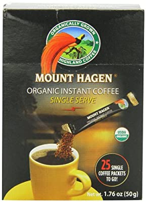 Mount Hagen Organic Instant Regular Coffee, 25 Count Single Serve packet