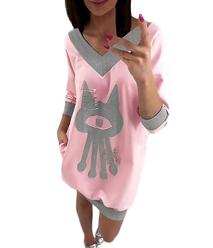 Donna Elegante Camicia V Scollo Manica 3/4 Cartone Animato Del Fumetto Pattern Cute Moda Giovane Casual Sciolto Primavera Autunnale Blusa T-Shirt Pullover Sweatshirt Tops