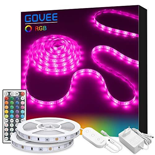 Tiras LED 10M, Govee Tira LED RGB con Control Remoto de 44 Botones y Caja de Control, 20 Colores, 8 Modos de Brillo y 6 opciones DIY para la Habitacion, 300 RGB 5050 SMD LEDs, 12V 3A, 2x5M