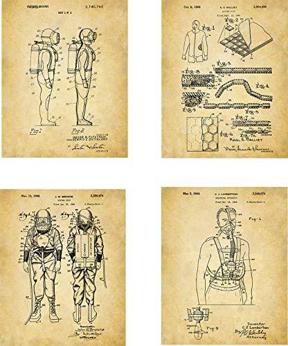 Scuba Diving Pictures - Scuba Diving Patent Wall Art Prints - set of Four (8x10) Unframed - wall art decor for divers