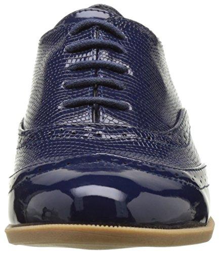 Richelieux bleus à talonnette de 3 cm et lacets bi matière