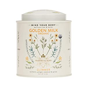 Harney & Sons Golden Milk Powder Turmeric, Ginger, Coconut & Spices, 8 Ounce tin