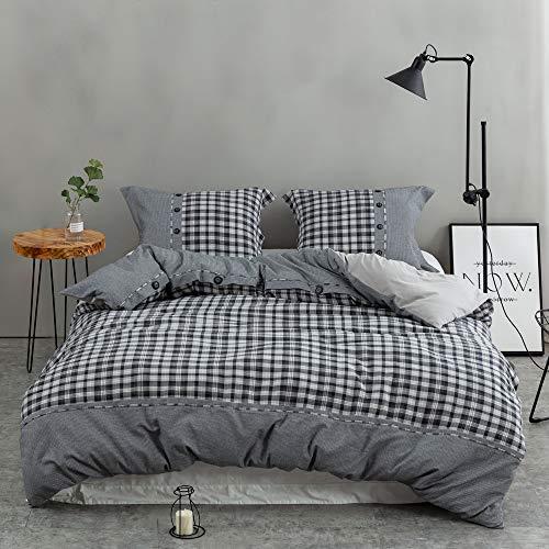 Simple&Opulence 3 Piece Black and White Buffalo Cotton and Flannel Check Duvet Cover Sets Including 1 Duvet Cover and 2 Pillow Cases (Queen, Black and White)