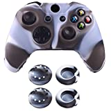 eXtremeRate Silicone Rubber TPU Cover Case Skin & Thumb Grip Stick caps for Xbox One Controller (Grey Black Camo) For Sale