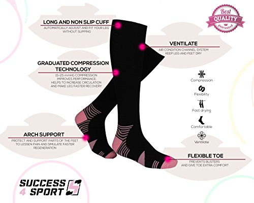 [UPGRADED] S4S Graduated Compression Socks for Fast Recovery and FEET PAIN - designed for Running, Fitness, other Sport Activities, Medical, Flights travel, Pregnancy, Shin Splints. For Men and Women!