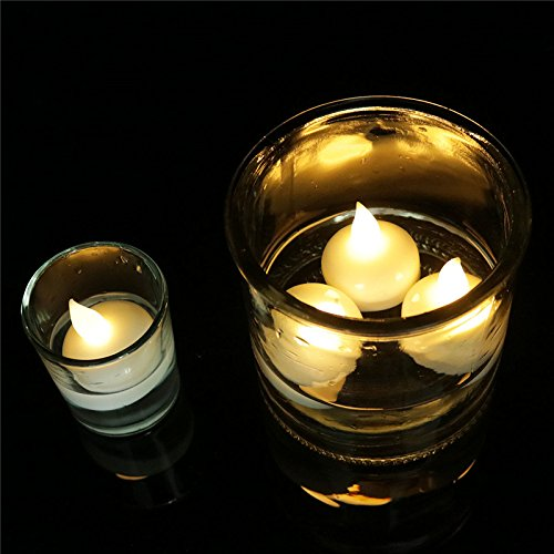 Youngerbaby Waterproof LED Floating Candles, Water Actived Led Tea Lights Candles for Pool, Fountain, Vase and Fish Tank (24PCS Warm White) by Youngerbaby