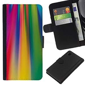 A-type (Ácido líneas de colores fucsia patrón) Colorida Impresión Funda Cuero Monedero Caja Bolsa Cubierta Caja Piel Card Slots Para Sony Xperia Z1 L39