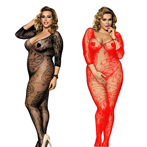 LOVELYBOBO Womens Fishnet Long Sleeve Bodystockings 2-Pack Striped Lingerie Bodysuits Tights Plus Size (Black+Red)]()
