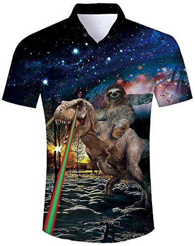 Dianosoar Shirts for Men 80s Retro Sloth Riding Dinosaur with Lighting Printed Novelty Short Sleeve Shirt Hawaiian Shirt Short Sleeve Summer Beach Holiday Funny Ugly 3D Printed Shirts for Mens