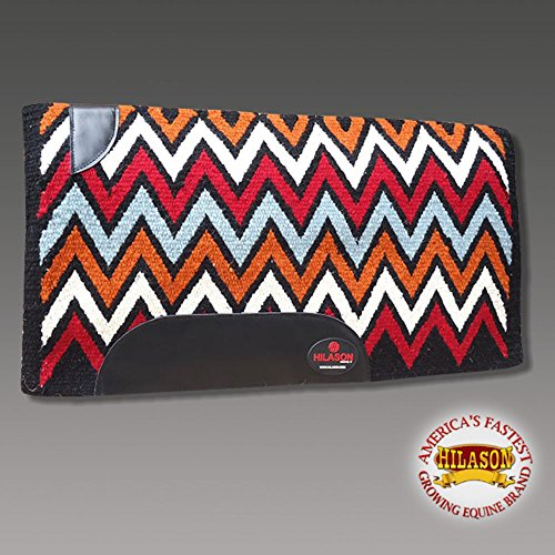 HILASON Western New Zealand Wool Horse Saddle Blanket Black Orange Red