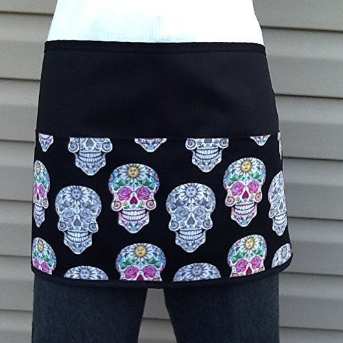 Waitress waiter Skulls design apron 3 Pockets half waist kitchen cooking restaurants Men, Women,Chef, Baker, Server For kitchen cooking. 300 more @ (handmade Janet Aprons)
