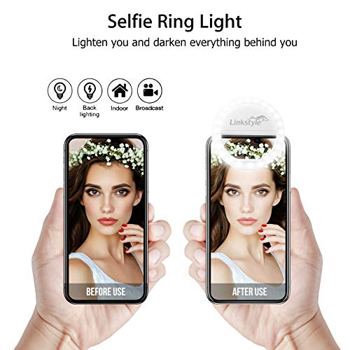 Selfie Ring Light Rechargeable, 36 LED Dimmable Clip on Selfie Light Portable for iPhone iPad Android Camera Phtography Video Make up White (1 Pack) by LinkStyle (Image #1)
