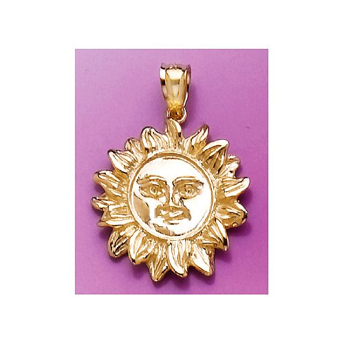 Gold Smiling Sun Charm - 14k Yellow Gold Charm Smiling Sun 2-D & Textured