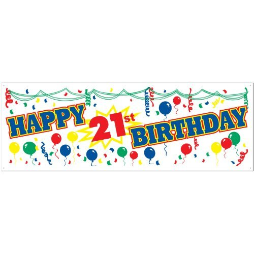 Happy 21st Birthday Sign Banner Party Accessory (1 count) (1/Pkg)