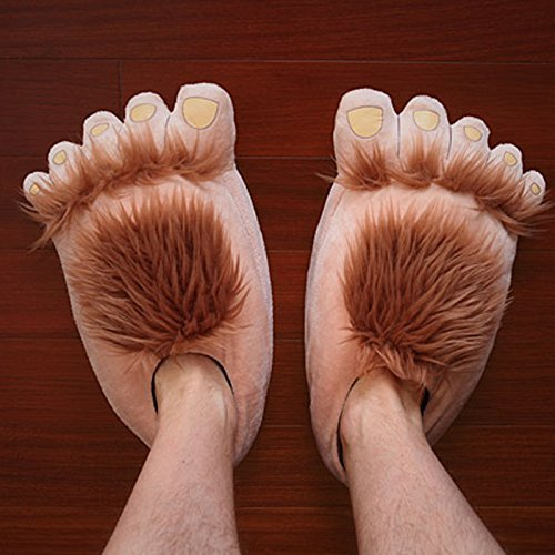 Luxugen Unisex Erwachsene Hobbit Füße Hausschuhe Halbling Plüsch-Pantoffeln Damen Herren