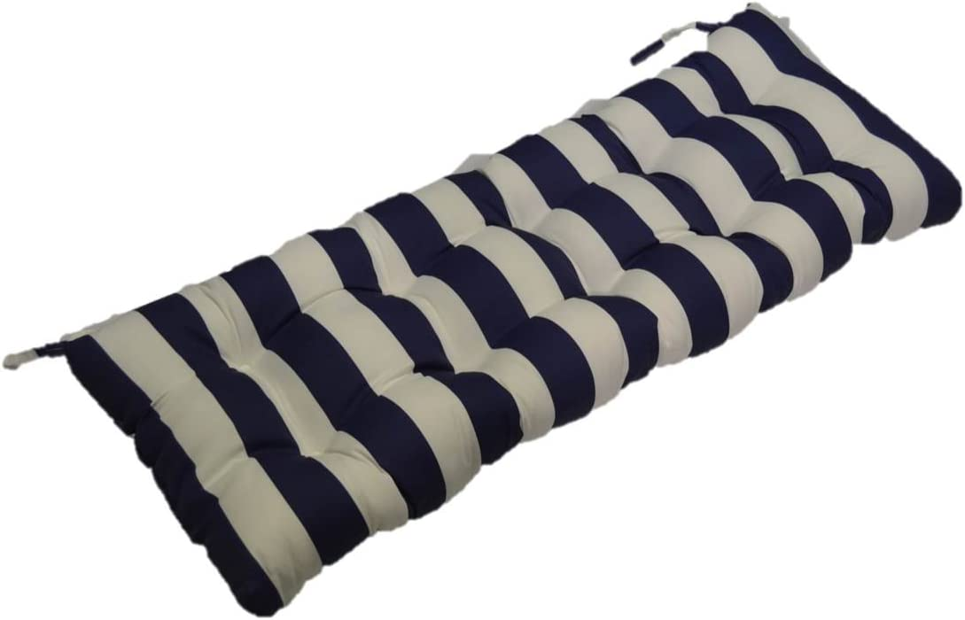 Resort Spa Home Decor Navy Blue and White Stripe Indoor Outdoor Tufted Cushion for Bench, Swing, or Glider – Choose Select Size 38 x 18