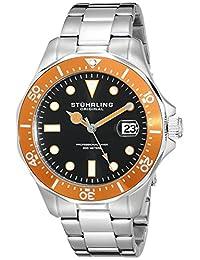 Stuhrling Original Men's 824.04 Aquadiver Orange Bezel Stainless Steel Watch