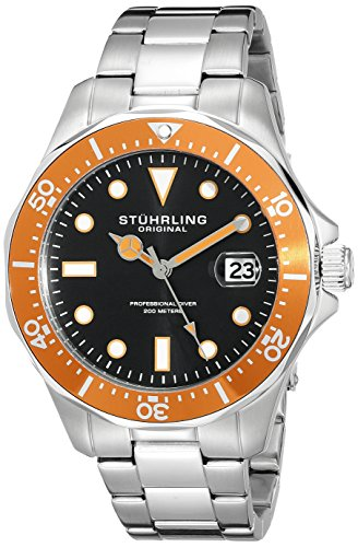 Stuhrling Original Men's 824.04 Aquadiver Date Orange Bezel Stainless Steel Diver (Diving Automatic Orange Dial)