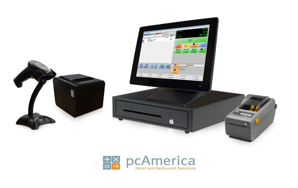Retail Point Of Sale System Includes Touchscreen Pc Pos Software Cre Monthly Receipt Printer Wireless Scanner Cash Drawer And Credit Card