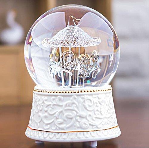 Boîte à musique pour enfants Boîte à musique de cheval en cristal rotatif rotatif cheval Figurine pour anniversaire de Noël enfants cadeaux jouet Yannay