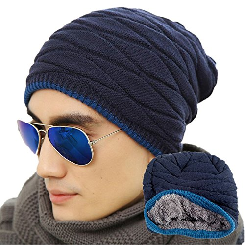 Spikerking Men's Soft Lined Thick Knit Skull Cap Warm Winter Slouchy Beanies Hat(One Size, Navy Blue 1)