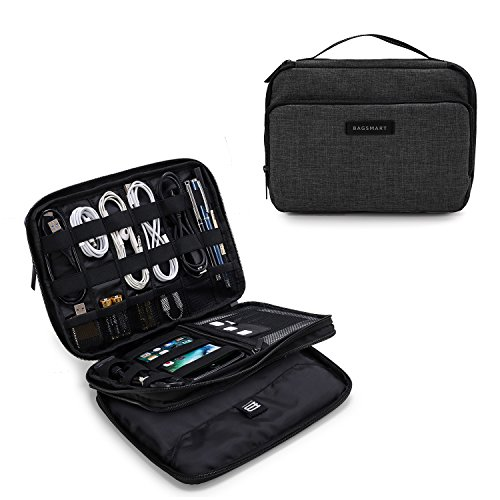 BAGSMART 3-Layer Travel Electronics Cable Organizer with Bag for 9.7 iPad, Hard Drives, Cables, Charger, Kindle, Black