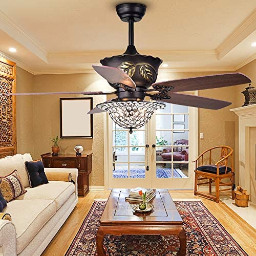 Crystal Ceiling Fan with Light Kit, 52 Inch Indoor Bronze Downrod Mount Mute Ceiling Fans 5 Wood Reversible Blades, Remote and Pull Chain Control