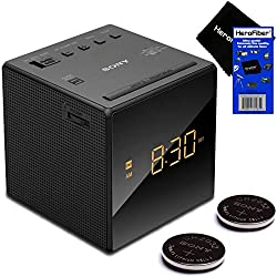Sony Radio Alarm Clock for Bedrooms with Am/FM Tuner, Gradual Wake Alarm, Extendable Snooze, Auto DST Adjustment, Large LED Display & Battery Backup + Repl. Batteries (2 Pack) + Herofiber